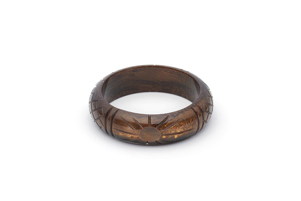 Splendette vintage inspired 1940s style carved brown Midi Golden Espresso Fakelite Bangle in Maiden size