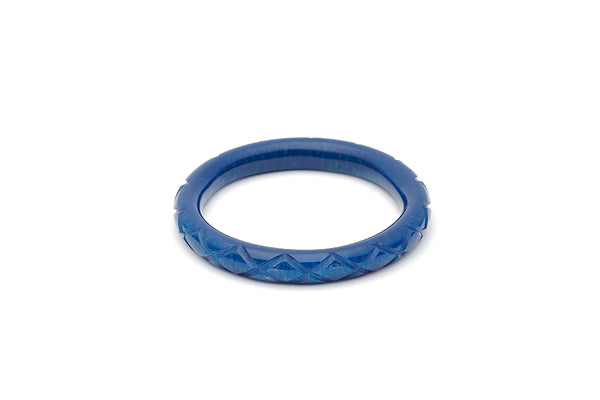 Splendette vintage inspired 1940s style carved blue Narrow Golden Ink Fakelite Bangle in Maiden size