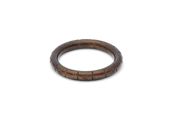 Splendette vintage inspired 1940s style carved brown Narrow Golden Espresso Fakelite Bangle in Maiden size