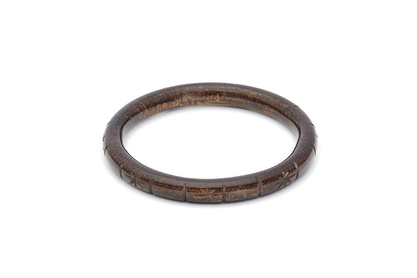 Splendette vintage inspired 1940s style carved brown Narrow Golden Espresso Fakelite Bangle in Duchess size