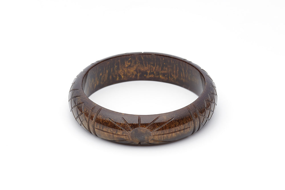 Splendette vintage inspired 1940s style carved brown Midi Golden Espresso Fakelite Bangle in Duchess size