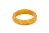 Splendette vintage inspired 1940s style carved yellow Midi Golden Mustard Fakelite Bangle in Duchess size