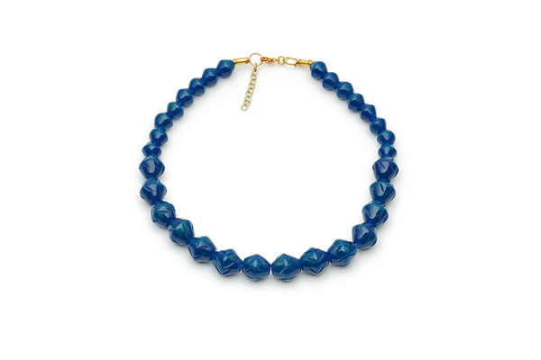 Splendette vintage inspired 1940s style carved blue Chunky Golden Ink Fakelite Necklace