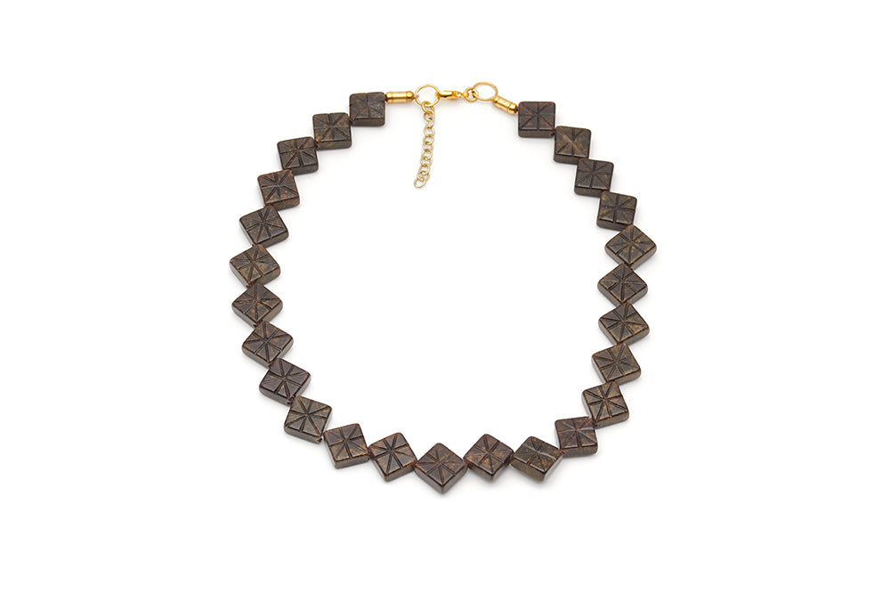 Splendette vintage inspired 1940s style carved brown Golden Espresso Fakelite Necklace