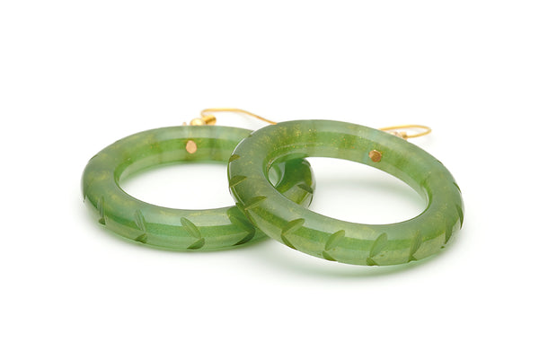 Splendette vintage inspired 1940s style carved green Golden Olive Fakelite Drop Hoop Earrings
