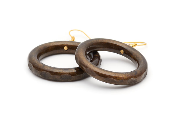 Splendette vintage inspired 1940s style carved brown  Golden Espresso Fakelite Drop Hoop Earrings