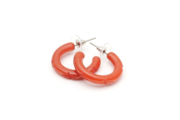 Splendette vintage inspired 1940s style carved orange Golden Amber Fakelite Hoop Earrings