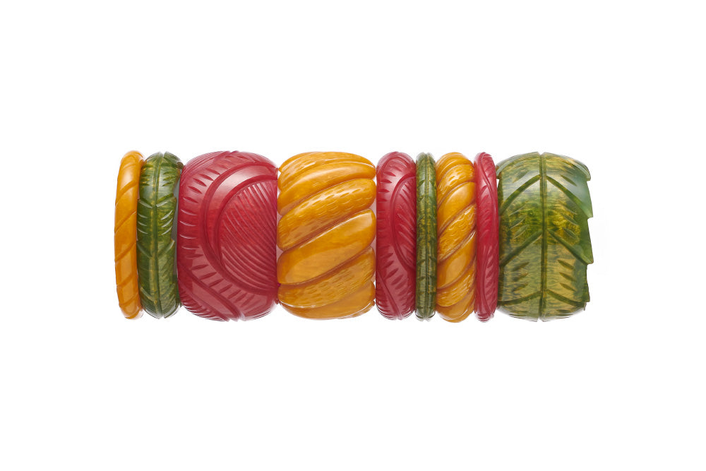 Splendette vintage inspired 1940s Bakelite style Golden Fakelite bangle stack with red Bordeaux, yellow Mustard and green Olive