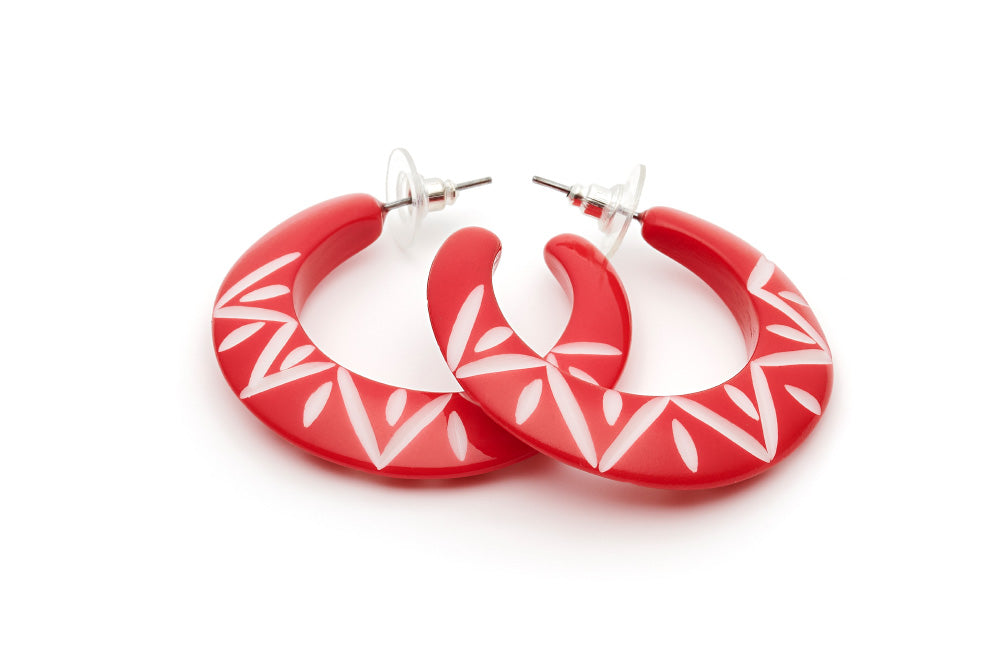 Splendette Lover Carved Hoop Earrings