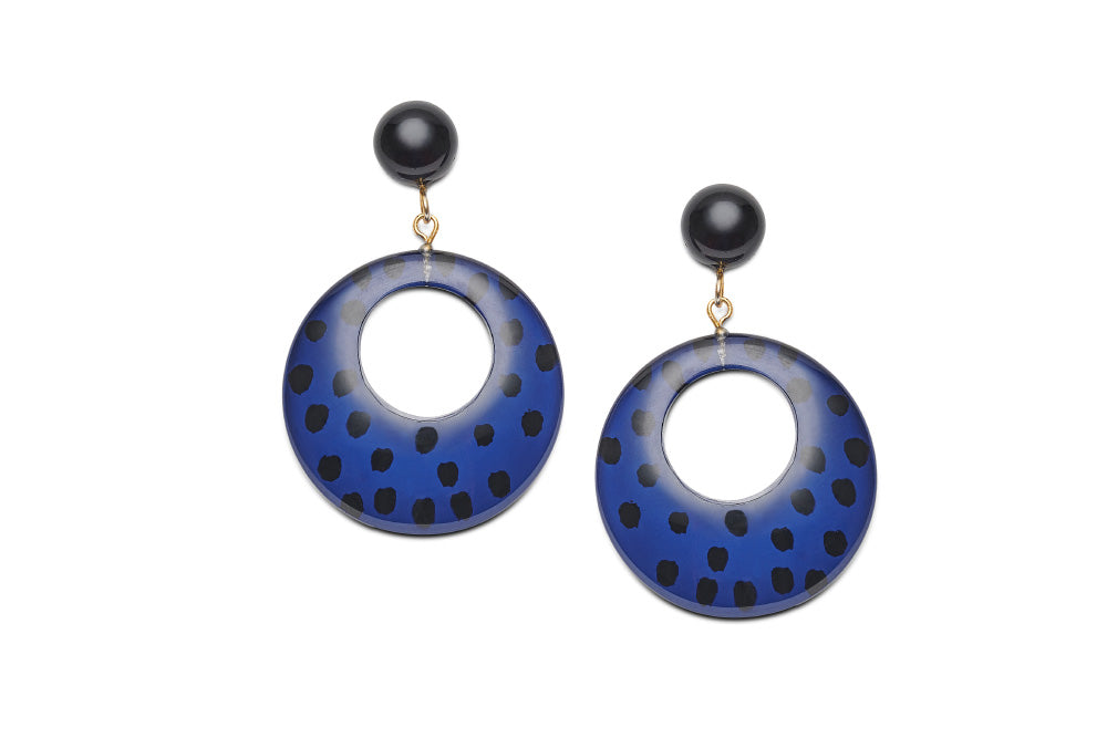 Indigo Leopard Drop Hoop Earrings