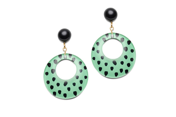 Mint Leopard Drop Hoop Earrings