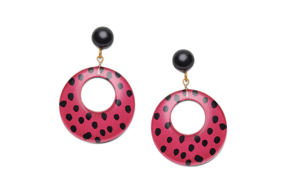 Iris Pink Leopard Drop Hoop Earrings