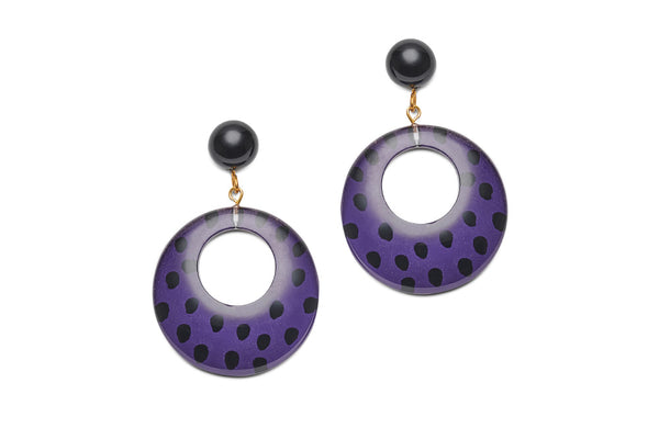 Purple Leopard Drop Hoop Earrings
