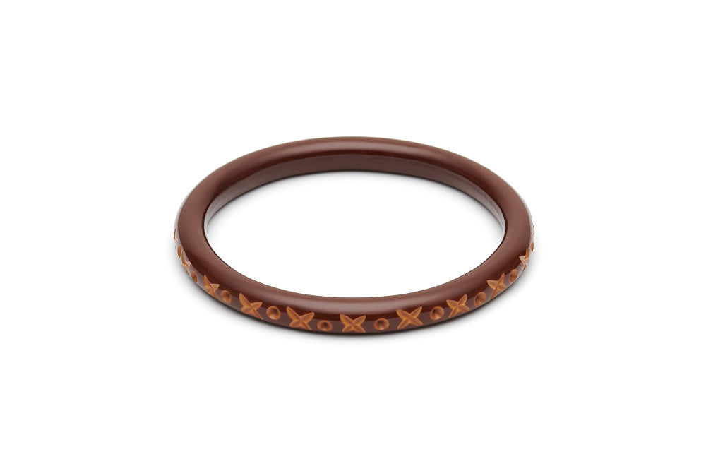 Splendette Narrow Walnut Carved Duchess Bangle
