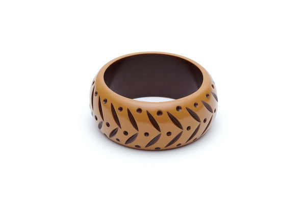 Splendette Wide Almond Carved Maiden Bangle