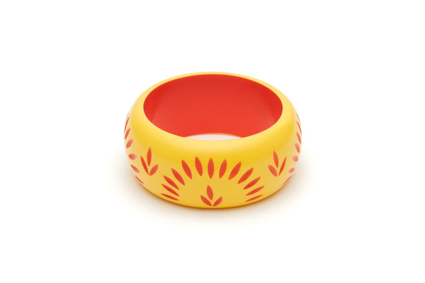 Splendette Wide Sunrise Carved Bangle