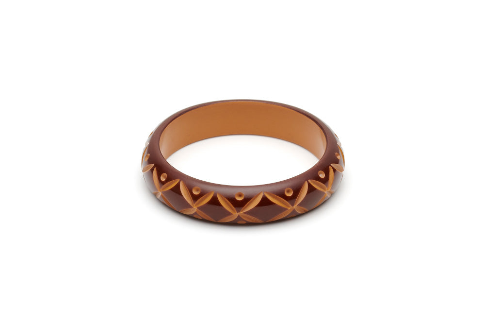 Splendette Midi Walnut Carved Maiden Bangle