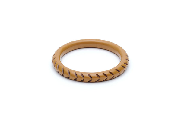 Splendette Narrow Almond Carved Maiden Bangle