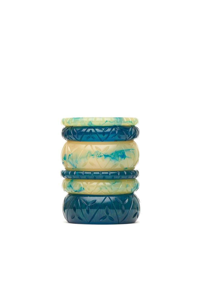 Midi Teal Crème Fakelite Bangle