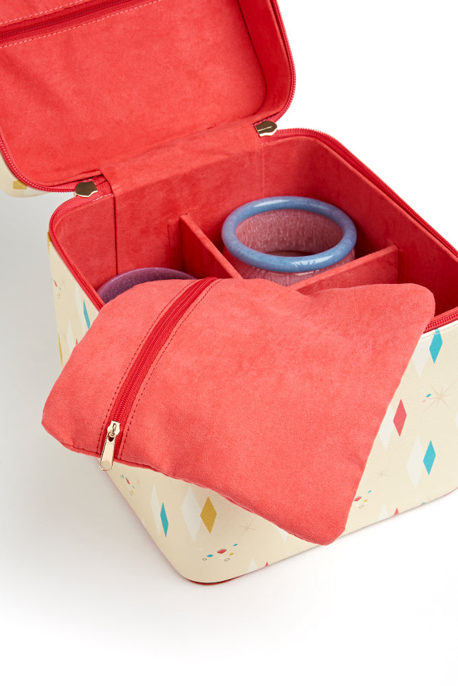 Open jewellery box in atomic diamonds design with pouch