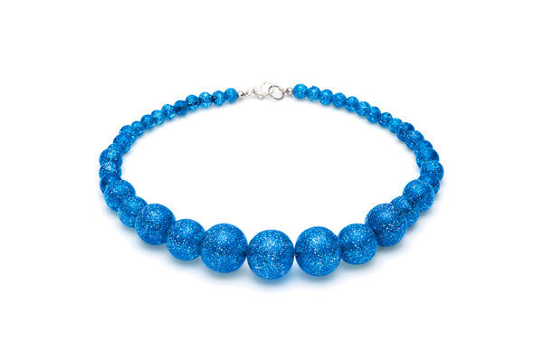 Blue Glitter Bead Necklace