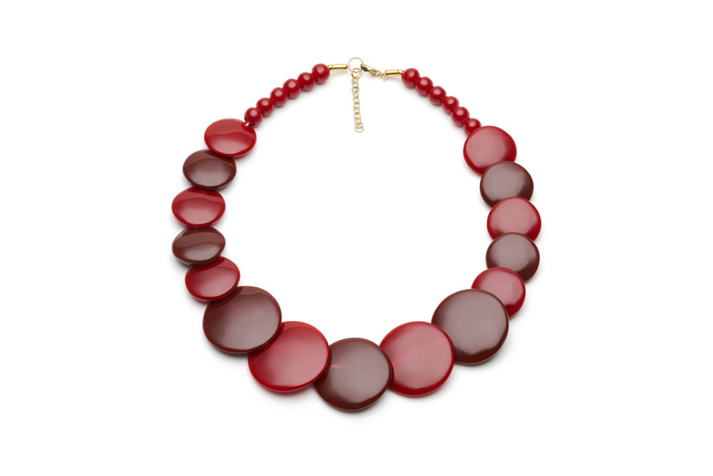 Rockabilly Style disc necklace in mulberry