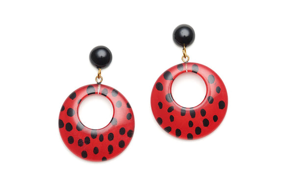 Red Leopard Drop Hoop Earrings