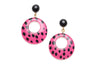 Pink Leopard Drop Hoop Earrings