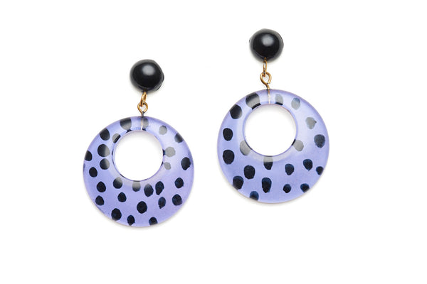 Grape Leopard Drop Hoop Earrings