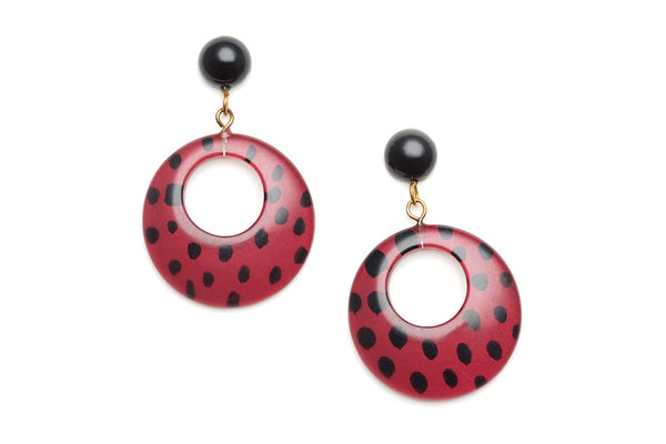 Mulberry Leopard Drop Hoop Earrings