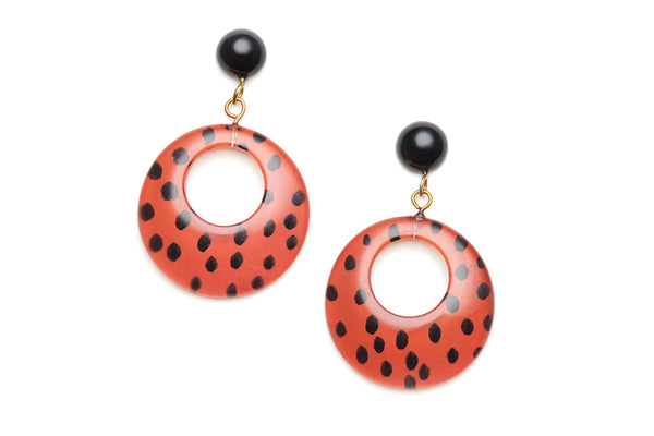 Orange Leopard Drop Hoop Earrings