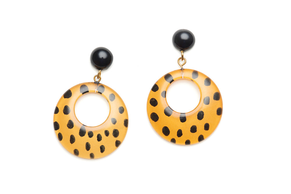 Yellow Leopard Drop Hoop Earrings