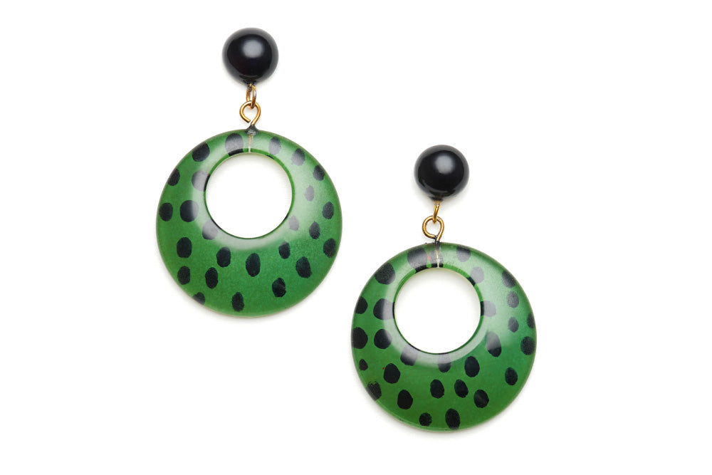 Green Leopard Drop Hoop Earrings