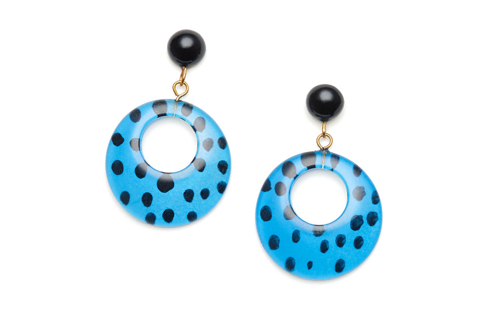 Blue Leopard Drop Hoop Earrings