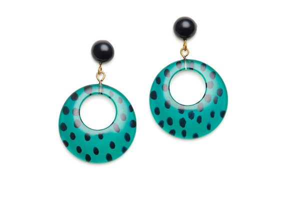 Jade Leopard Drop Hoop Earrings