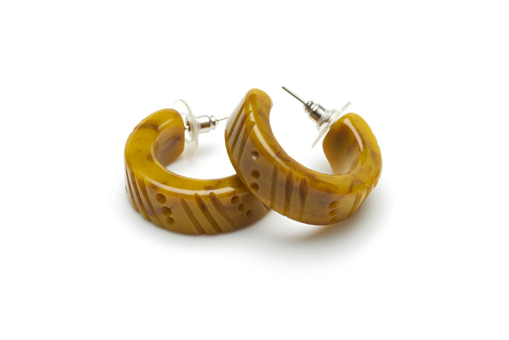 Handmade style hoop earrings in catkin