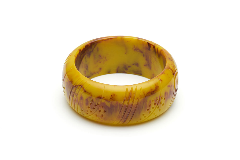 1940s Jewelry Styles and History Wide Catkin Fakelite Bangle £9.50 AT vintagedancer.com