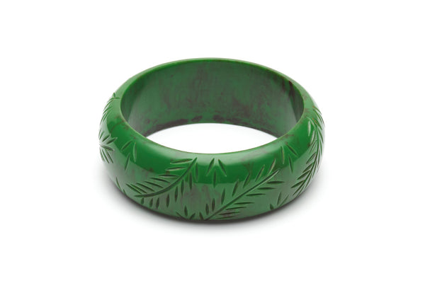 Vintage style wide duchess bangle in fern