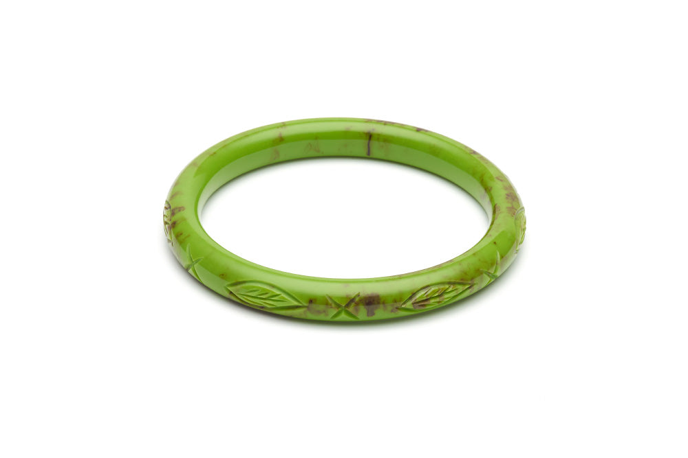 Bakelite style narrow duchess bangle in alder green