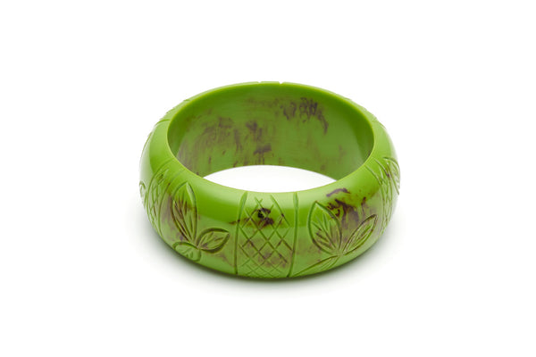 Bakelite style wide bangle in alder green