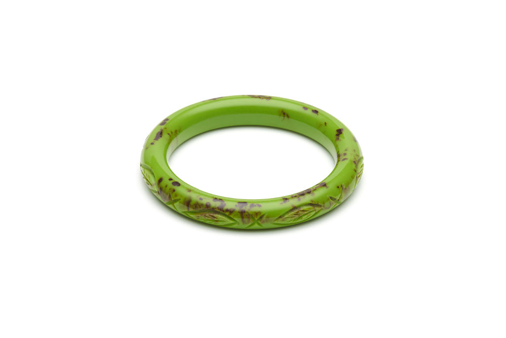 Bakelite style narrow maiden bangle in alder green