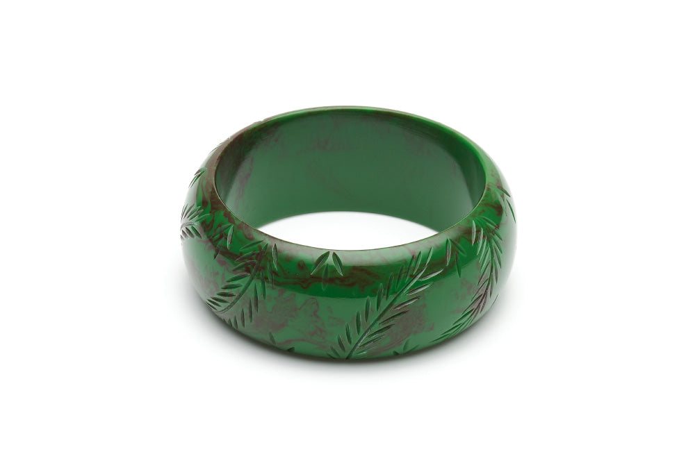 Vintage style wide bangle in fern