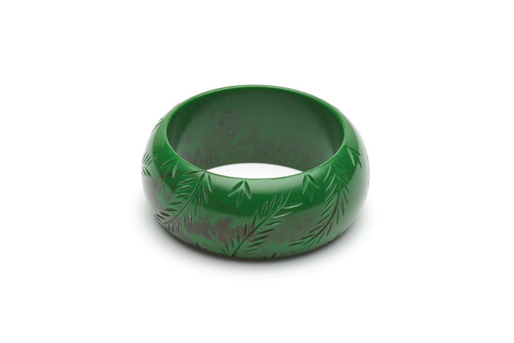 Vintage style wide maiden bangle in fern
