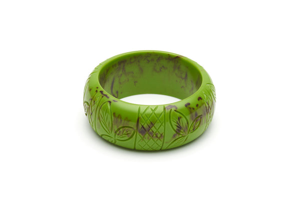 Bakelite style wide maiden bangle in alder green
