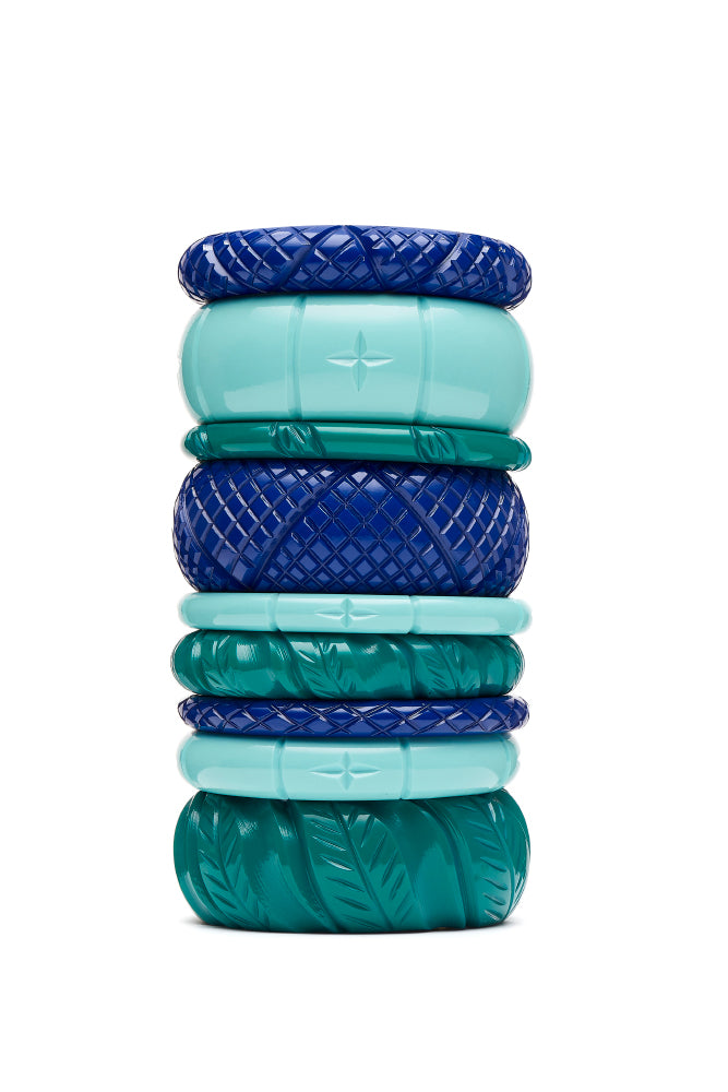 1940s style stack indigo blue humanitea turquoise jade green
