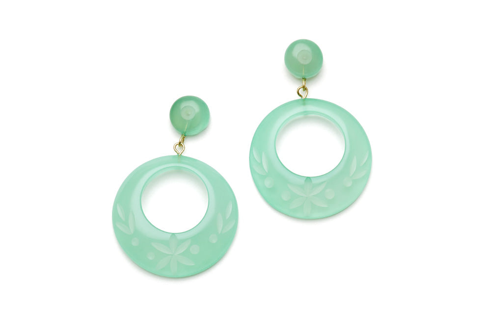 Mint Sorbet Fakelite Drop Hoop Earrings
