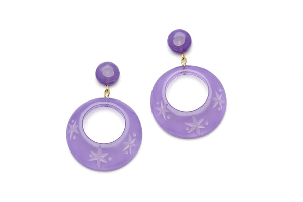 Parma Violet Fakelite Drop Hoop Earrings