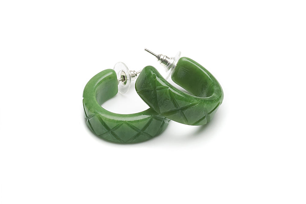 1940s Style Hoop Earrings in Sage Green Fakelite
