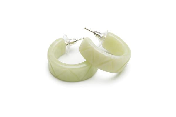 1940s Style Hoop Earrings in Lichen Green Fakelite