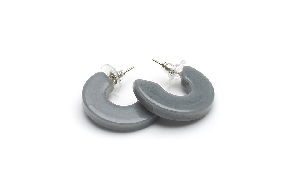 Vintage Style Hoop Earrings in Stone Grey Fakelite